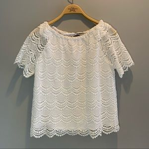 Talbots white lace square neck top MD PETITE
